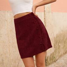 Button Front Ruffle Trim Corduroy Skirt