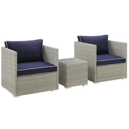 Repose Collection EEI-3006-LGR-NAV-SET 3 PC Outdoor Patio Sectional Set with Powder Coated Aluminum Frame  Non-Marking Foot Pads  Light Grey