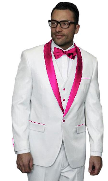 Mens Alberto Nardoni White Tuxedo Pink Tux Jacket Vested Suit