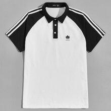 Men Striped Side Raglan Sleeve Letter Graphic Polo Shirt