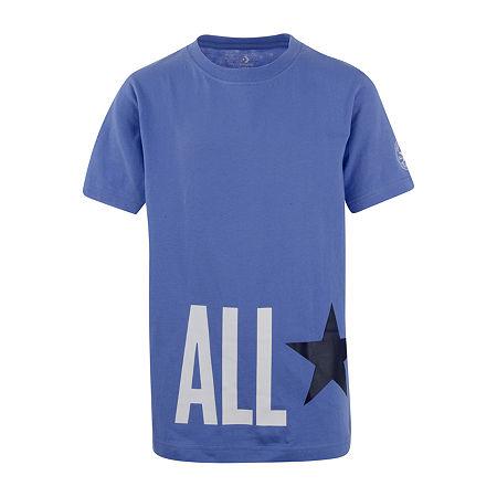 Converse Big Boys Crew Neck Short Sleeve Graphic T-Shirt, Small (8) , Blue