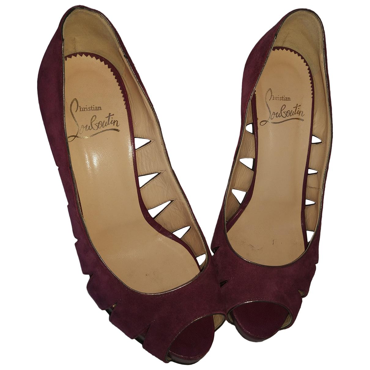 Christian Louboutin N Burgundy Leather Heels for Women 37 EU