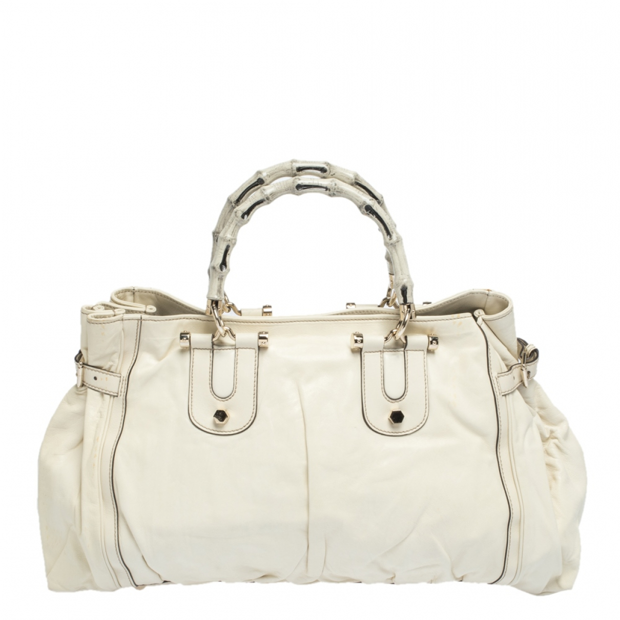 Gucci Bamboo White Leather handbag for Women N