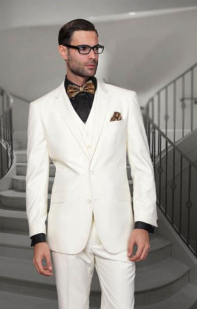 Statement Men's Off White 2 Button Modern Fit Wool Suit