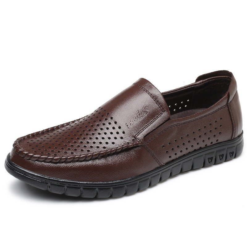 Men Hollow Out Comfy Breathable Soft Sole Slip On Leather Shoes