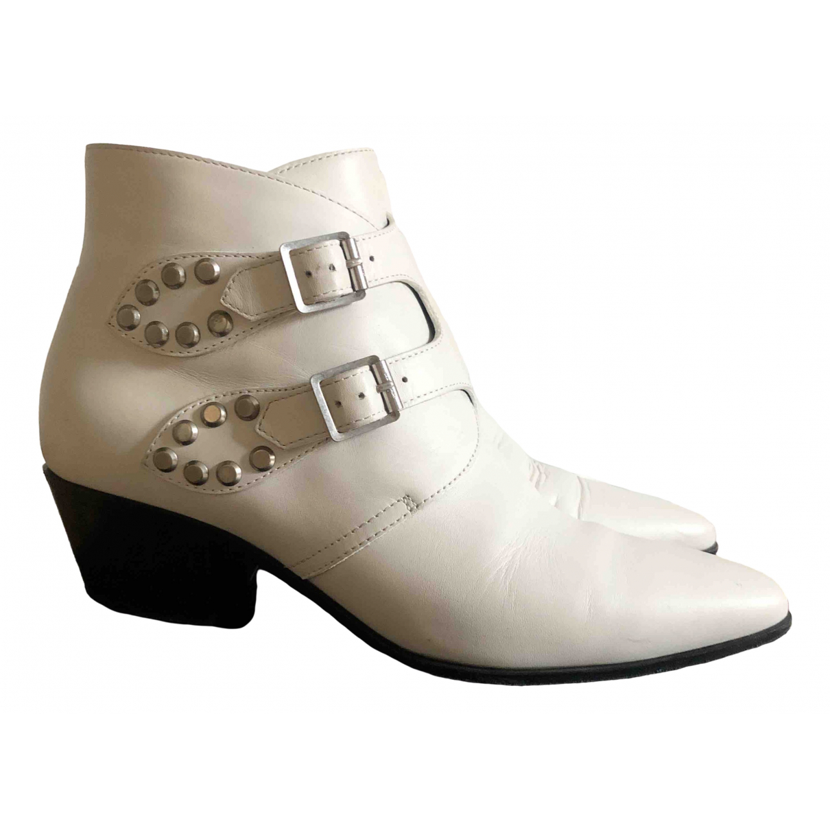 Saint Laurent \N White Leather Ankle boots for Women 38 EU