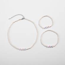 3 Stuecke Maedchen Halskette mit Buchstaben Dekor, Perlen & Armband & Fusskette