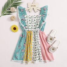 Toddler Girls Floral & Plants Print Ruffle Trim Dress