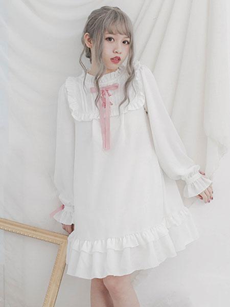 Milanoo Sweet Lolita OP One Piece Dress Long Sleeve Crewneck Ribbons Bows Chiffon Two Tone White Lolita Dresses
