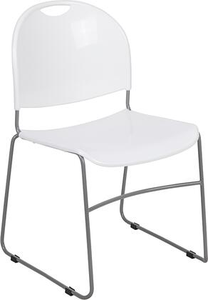 Hercules Collection RUT-188-WH-GG Ultra-Compact Stack Chair with Black Powder Coated Steel Frame  Carrying Handle and No-Fade Infused Polypropylene