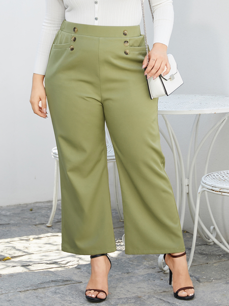 YOINS Plus Size Army Green Button Design Pants