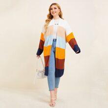 Plus Ribbed Knit Colorblock Cardigan