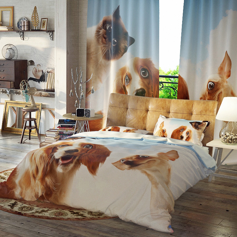 Dogs Duvet Cover Set Three-Piece Set Reactive Printing Polyester Bedding Sets Ultra-soft Microfiber No-fading Twin Full Queen King