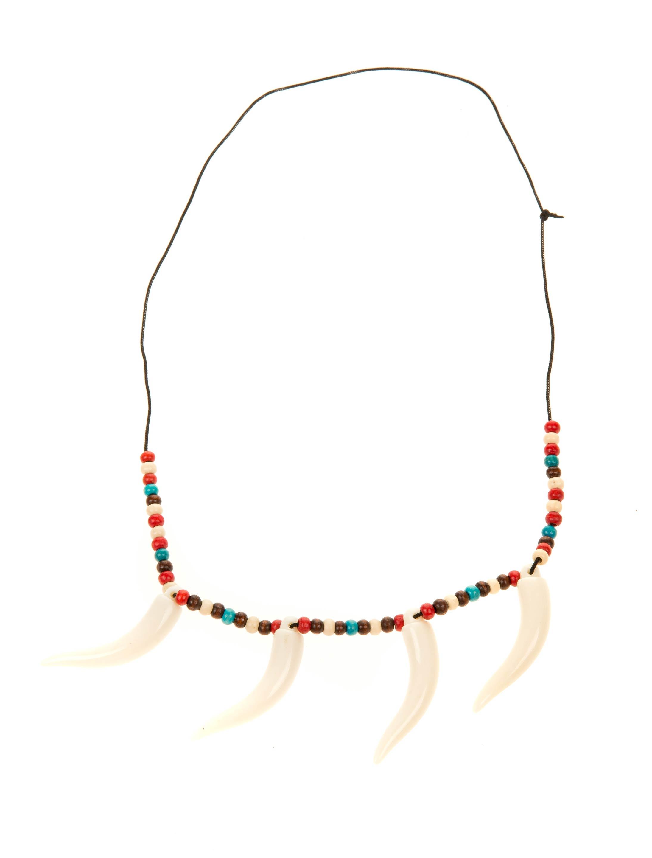 Kostuemzubehor Halskette bunt mit Zaehnen Farbe: multicolor bzw. bunt