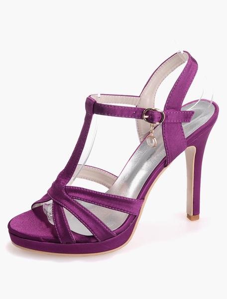 Milanoo Zapatos de novia de saten 11cm Zapatos de Fiesta Zapatos azul  de tacon de stiletto Zapatos de boda de puntera abierta 1.5cm