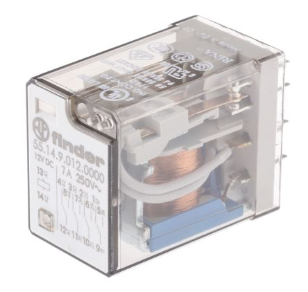 Finder , 12V dc Coil Non-Latching Relay 4PDT, 7A Switching Current PCB Mount, 4 Pole