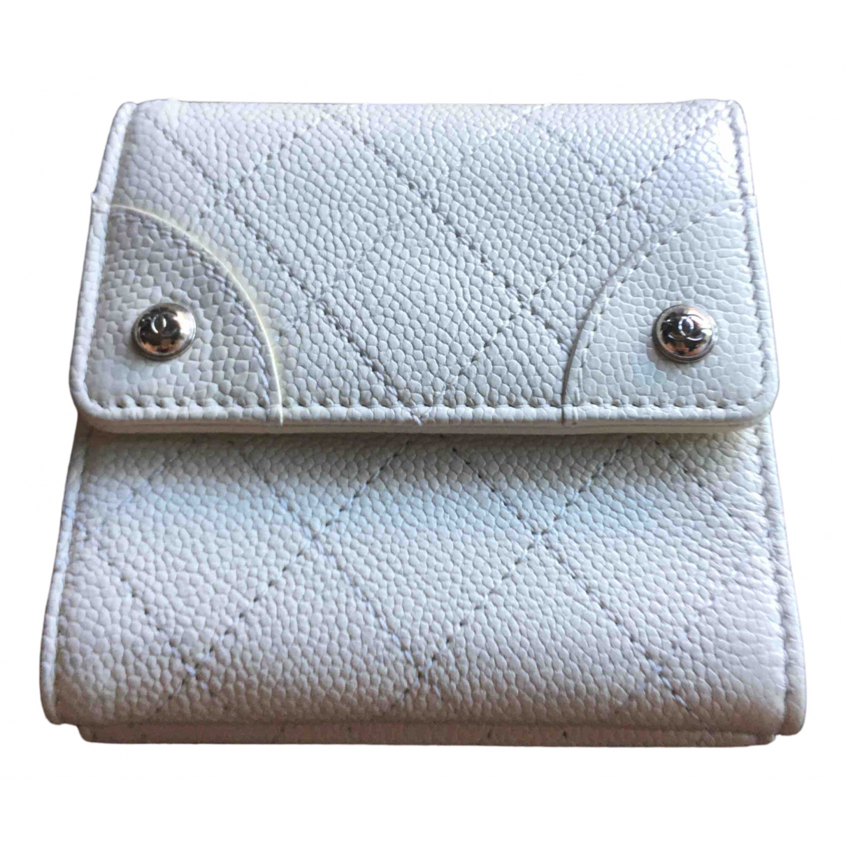 Chanel - Portefeuille   pour femme en cuir - ecru