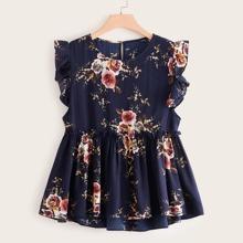 Plus Floral Print Ruffle Sleeve Blouse