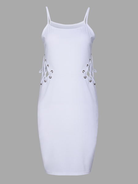 Yoins White Sexy Backless Lace-up Design Sleeveless Hollow Spaghetti Dress