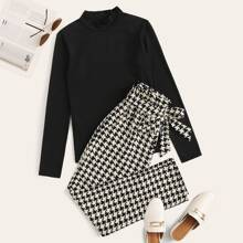 Mock Neck Solid Tee & Belted Houndstooth Pants