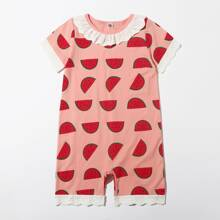 Jumpsuit mit Wassermelone Muster, Ose und Stickereien