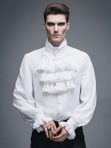 Milanoo Men's Steampunk Shirt White Ruffle Vintage Retro Costume Top Halloween