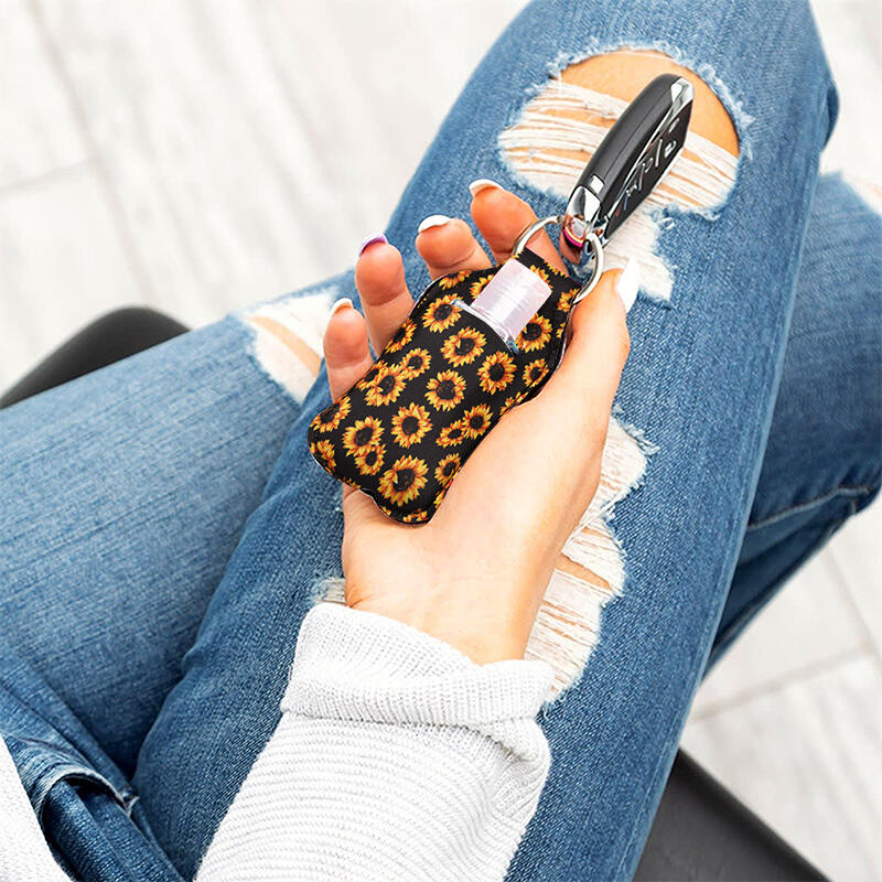 Waterproof Sunflower Serape Striped Lipstick Keychain Holder