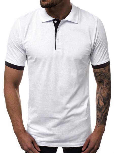 Milanoo Camisa de polo para hombre Cuello de color Bloque de cuello Manga corta Botones Top