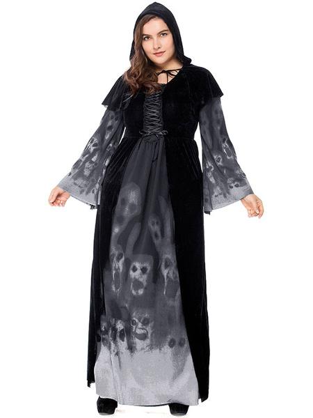 Milanoo Black Halloween Costumes Vampire Dress Obi Polyester Skull Women Holidays Costumes