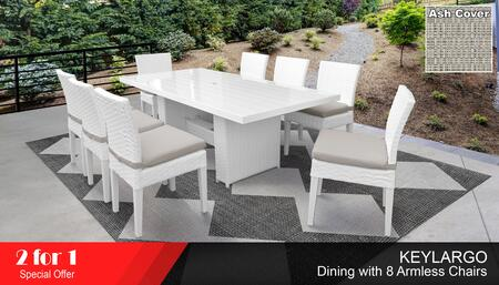 Monaco Collection MONACO-DTREC-KIT-8C-ASH Patio Dining Set With 1 Table  8 Side Chairs - Sail White and Ash