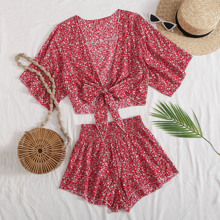 Tie Front Ditsy Floral Top & Shorts Set