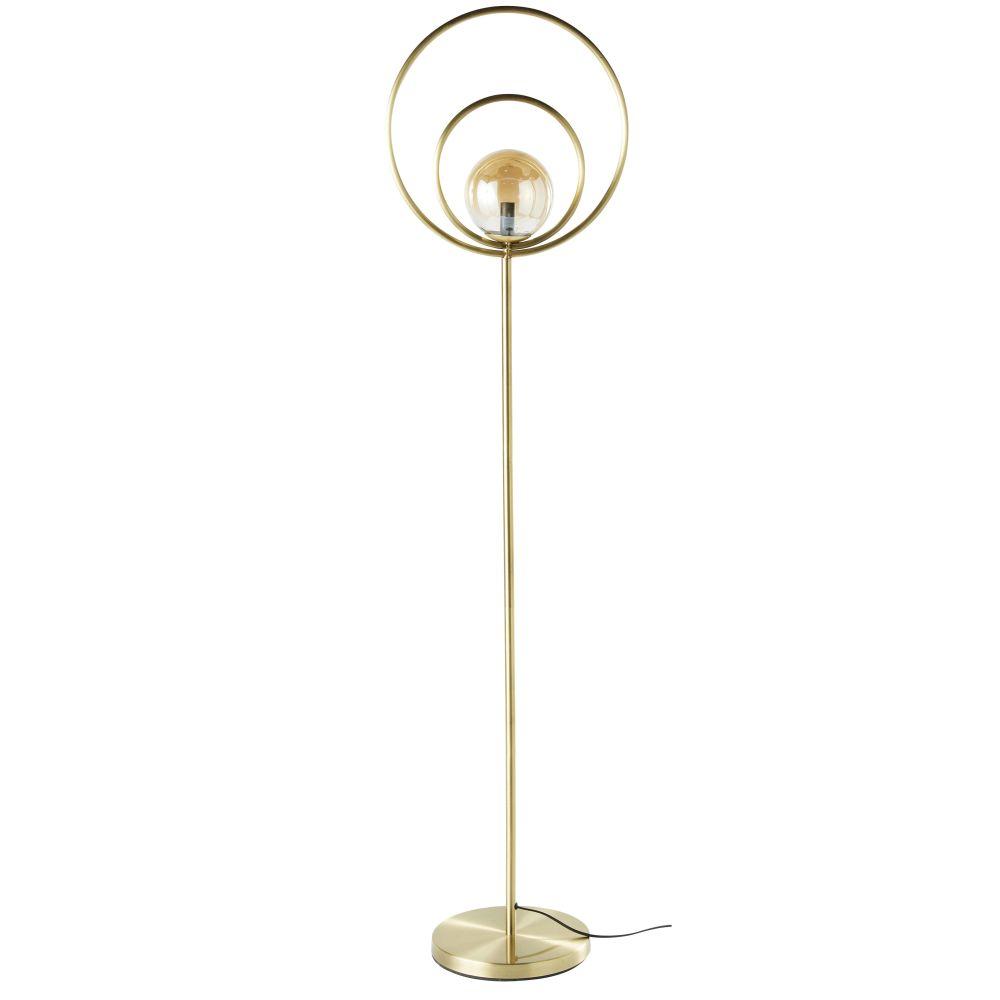 Stehlampe mit Kugelschirm aus Rauchglas und goldfarbenem Metall H162