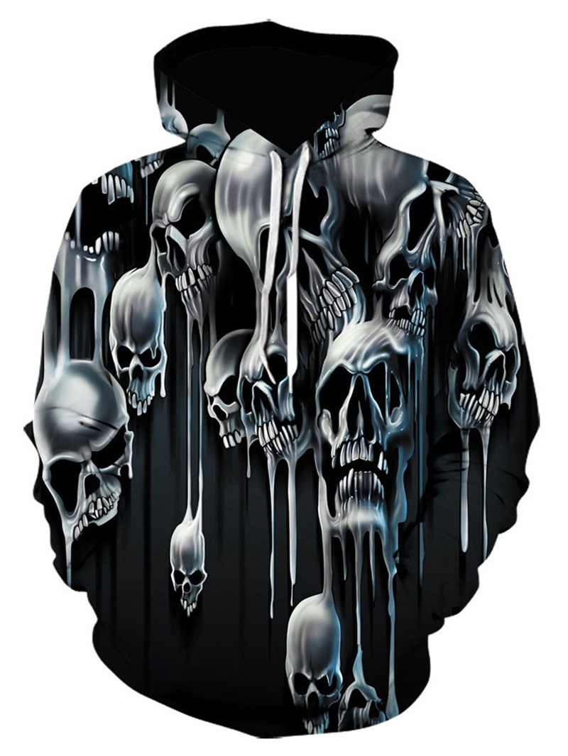 Ericdress Pullover Skull Print Hooded Loose Hoodies