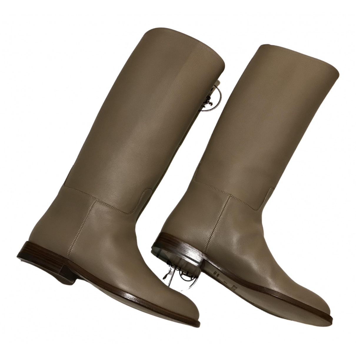 Hermès Jumping Beige Leather Boots for Women 36 EU