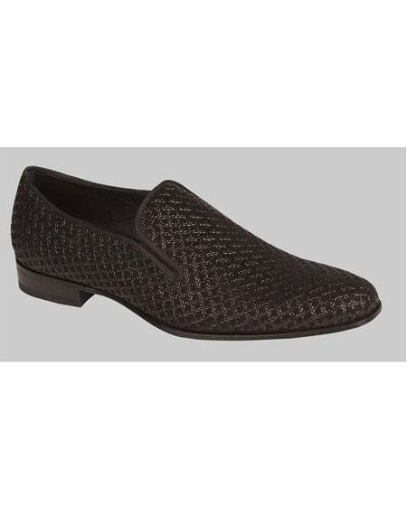 Men's Black Suede Embossed Pattern Slip On Shoe Authentic Mezlan Brand