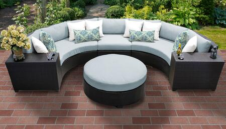 Barbados BARBADOS-06c-SPA 6-Piece Wicker Patio Set 06c with 3PC Curved Sectional  2 Cup Tables and Round Coffee Table - Wheat and Spa