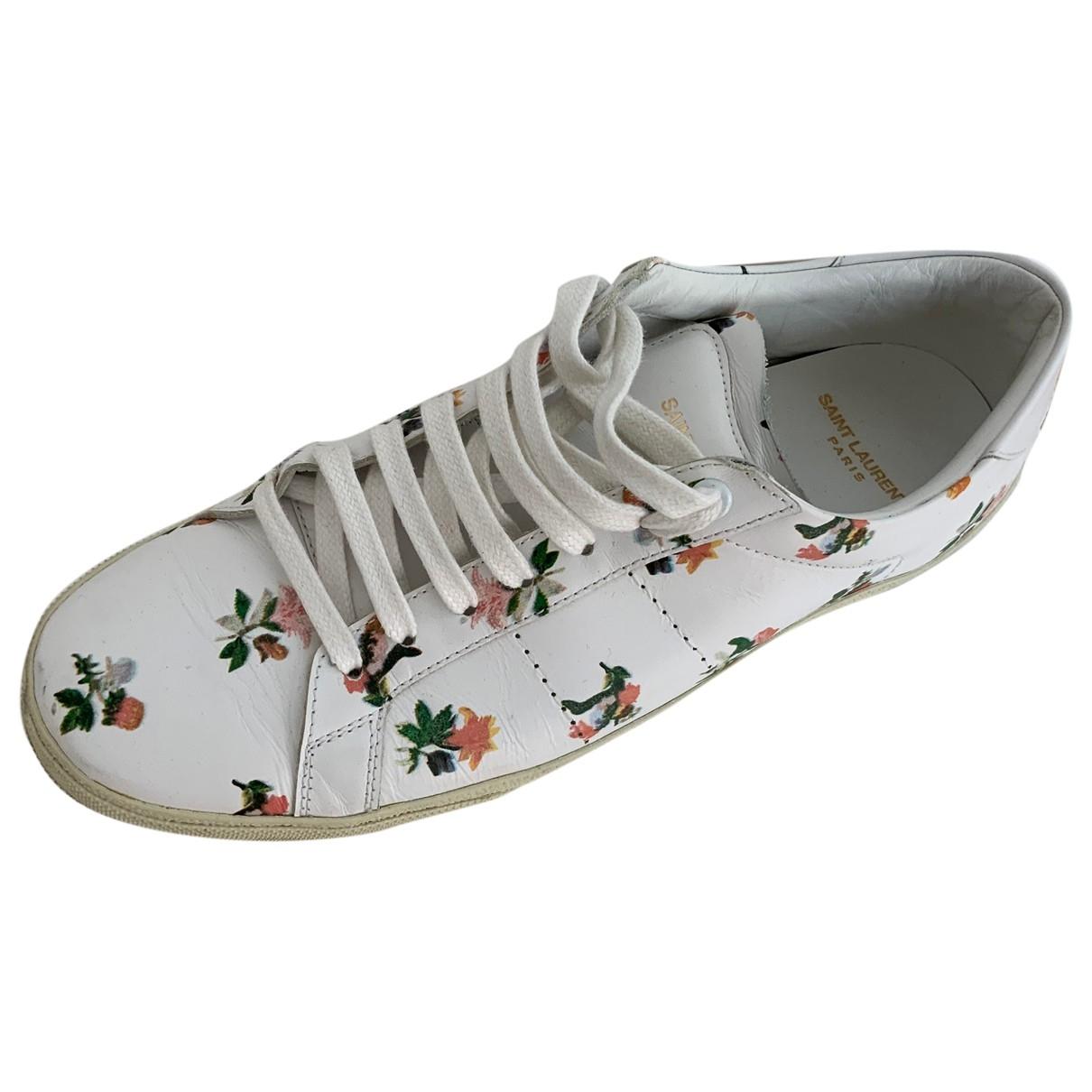 Saint Laurent Court Sneakers in  Weiss Leder