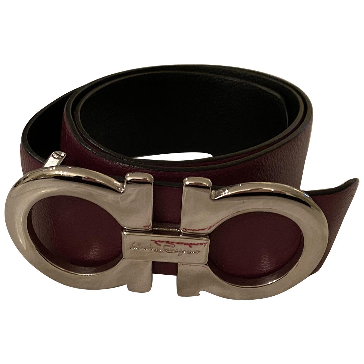 Salvatore Ferragamo \N Burgundy Leather belt for Women 95 cm