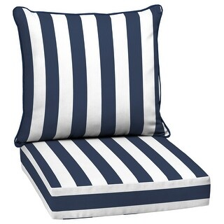 Arden Selections Outdoor 24 x 24 in. Deep Seat Set (24 L x 24 W x 5.75 H - Sapphire Cabana Stripe)