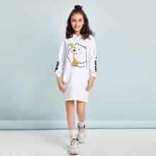 Kleid mit Beuteltasche, Karikatur & Buchstaben Grafik und Kapuze