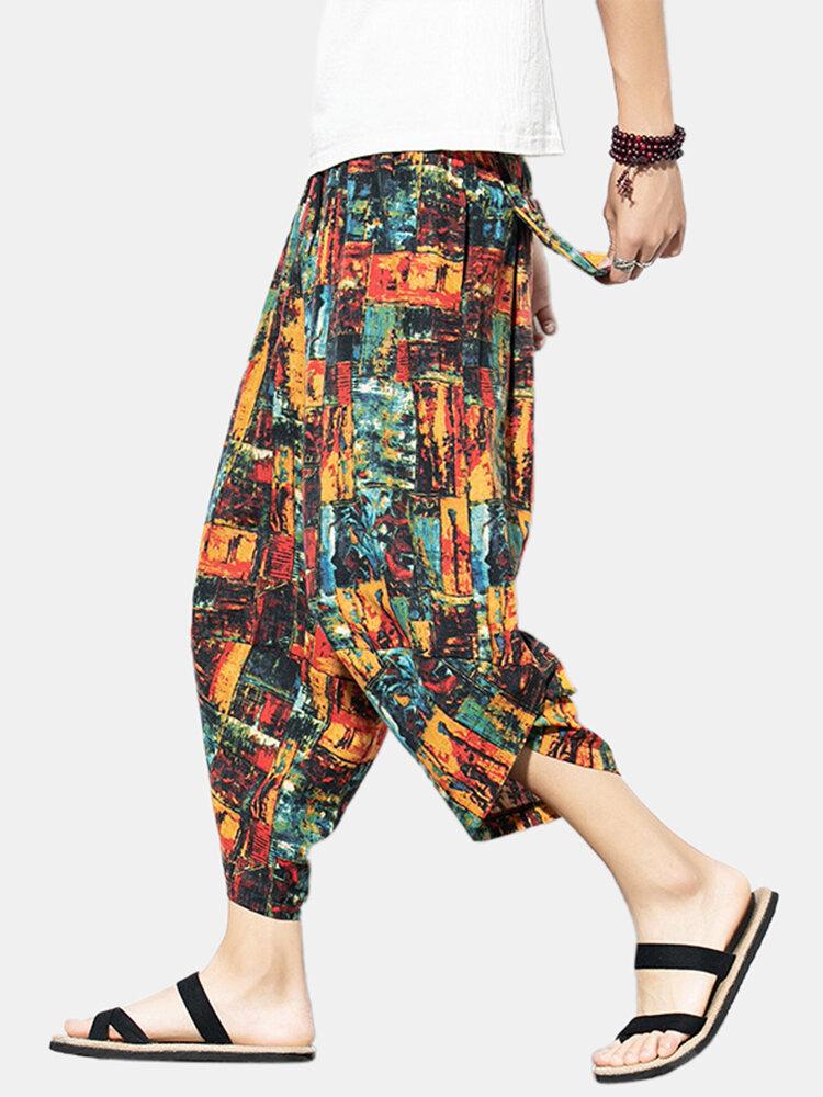 Mens 95% Cotton Color Block Hit Color Calf-Length Loose Casual Harem Pants