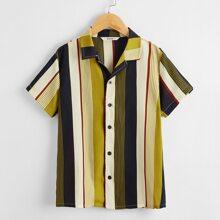 Boys Revere Collar Striped Shirt