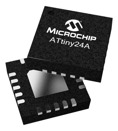 Microchip ATTINY24V-10SSU, 8bit AVR Microcontroller, AVR, 10MHz, 2 kB Flash, 14-Pin SOIC (5)