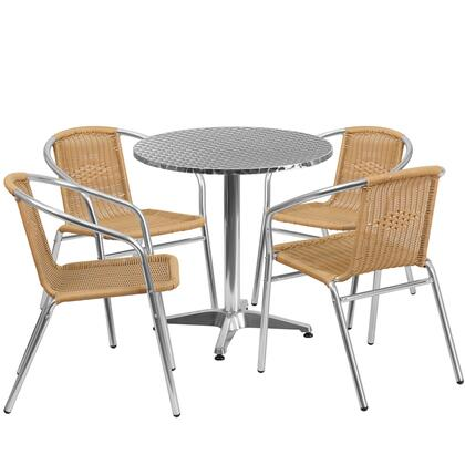 TLHALUM Collection TLH-ALUM-28RD-020BGECHR4-GG 5 Piece Indoor/Outdoor Patio Set with 4 Cafe Chairs  Round Shaped Table  Lightweight Aluminum Frame