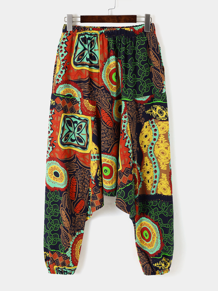 Yoins Men Ethnic Style Casual Elastic Waist Harem Pants