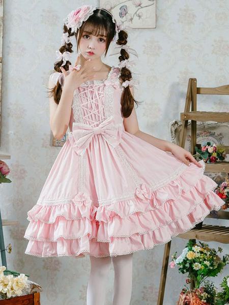 Milanoo Sweet Lolita JSK Dress Ruffles Bows Lace Up Lolita Jumper Skirts