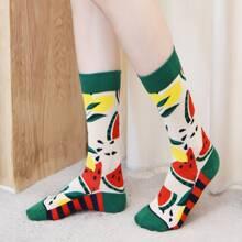 Socken mit Wassermelone Muster