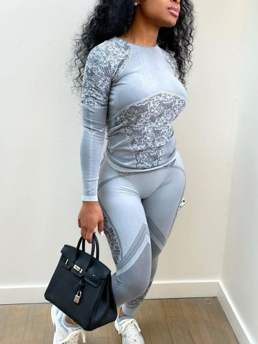 LW Lovely Sportswear Print Patchwork Grey Two Piece Pants Set