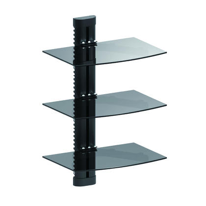 Height Adjustable DVD Wall Mount Triple shelves for DVD players or AV components PrimeCables®