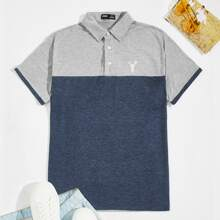 Men Elk Embroidery Two Tone Polo Shirt